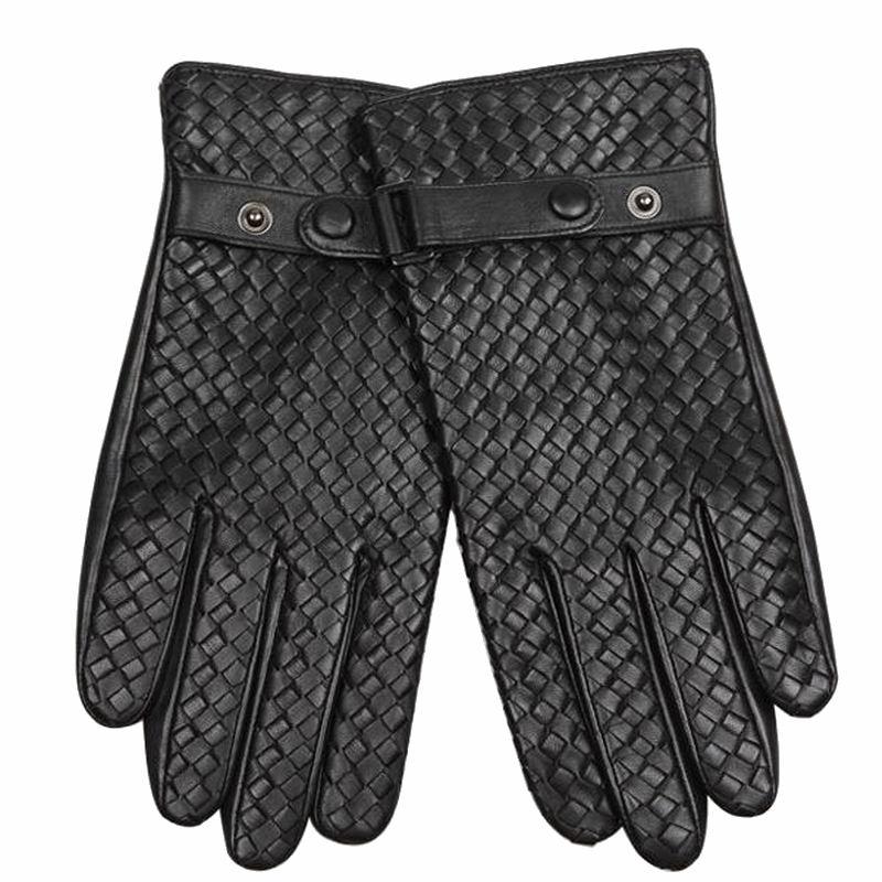 Véritable cuir hommes gants mode armure noir affaires en peau de mouton conduite gant hiver épaissir chaud cinq doigts W117