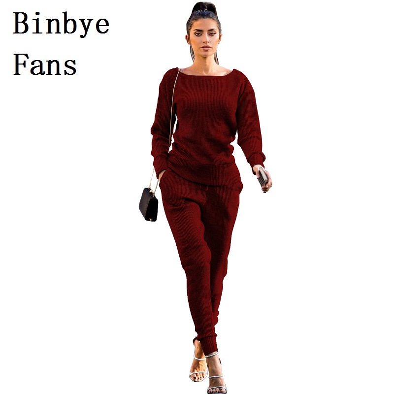 Binbye Fans Knitted Tracksuit Outfit Sweat Suit Womens Sweater Sets Top+Long Pants Clothing Casual 2 Two Piece Set CH197