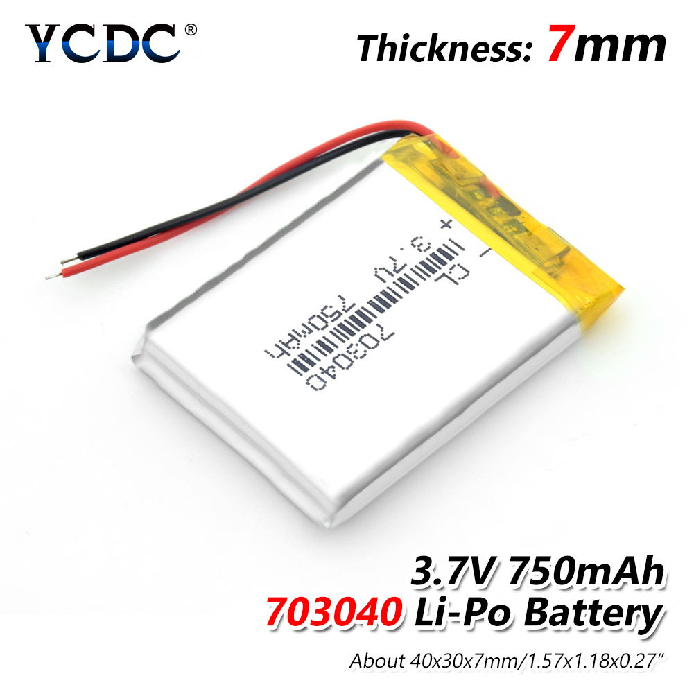 1/2/4 3.7v 750mAh Li-po Battery 703040 Rechargeable Lithium Batteries For LED Light MP3 MP4 Cell Phone DVD Laptop Power Bank