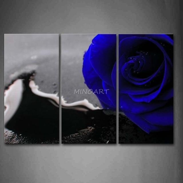 3 Piece Wall Art Painting Waterdrops Rose In Dark Blue Print On ...