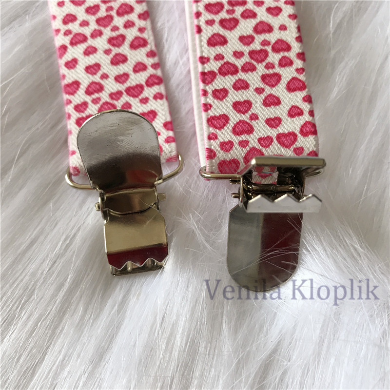 Children Pink Heart Sweet Suspenders Baby Girls Suspenders Clip-on Y-Back Braces Elastic Kids Suspenders