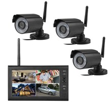 2.4G 4CH QUAD DVR Safety CCTV Digicam System Digital Wi-fi Equipment Child Monitor 7″ TFT LCD Monitor+ three Cameras