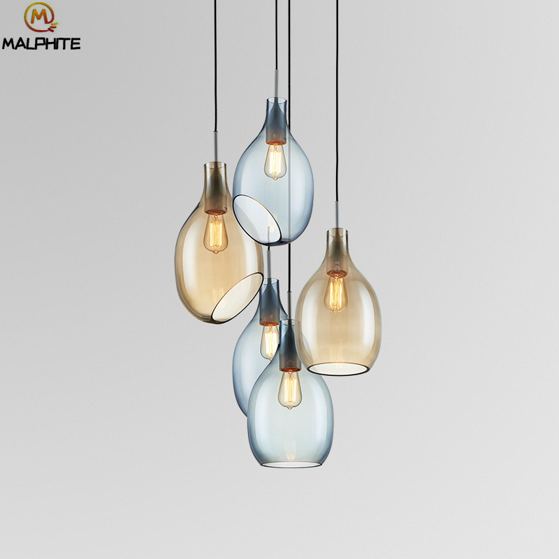 Simple Color Glass Pendant Lights Moder Minimalist LED Bar Dining room E27 hanging Pendant Lamps Home Deco Lighting Luminaria