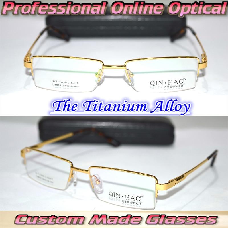 a03ba9838a Óptico por encargo lentes ópticas aleación de titanio oro semi lamer marco  caballero gafas de lectura 1 + 1.5 + 2 + 2.5 + 3 + 3.5 + 4 + 6