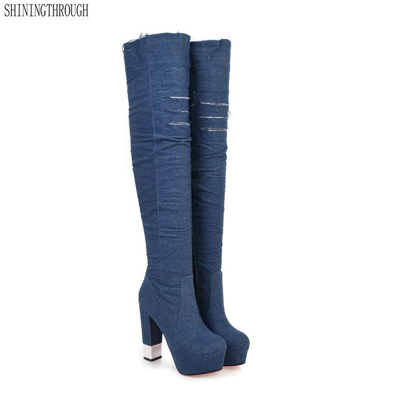 Women blue denim boots over the knee high boots knee 2018 high heels women shoes tassel jeans boots large size 43 цена
