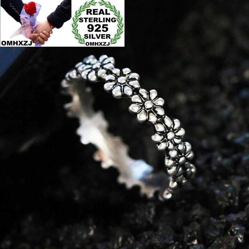 OMHXZJ Wholesale European Fashion Woman Girl Party Wedding Gift Silver Black Flower Taiyin Ring RR341