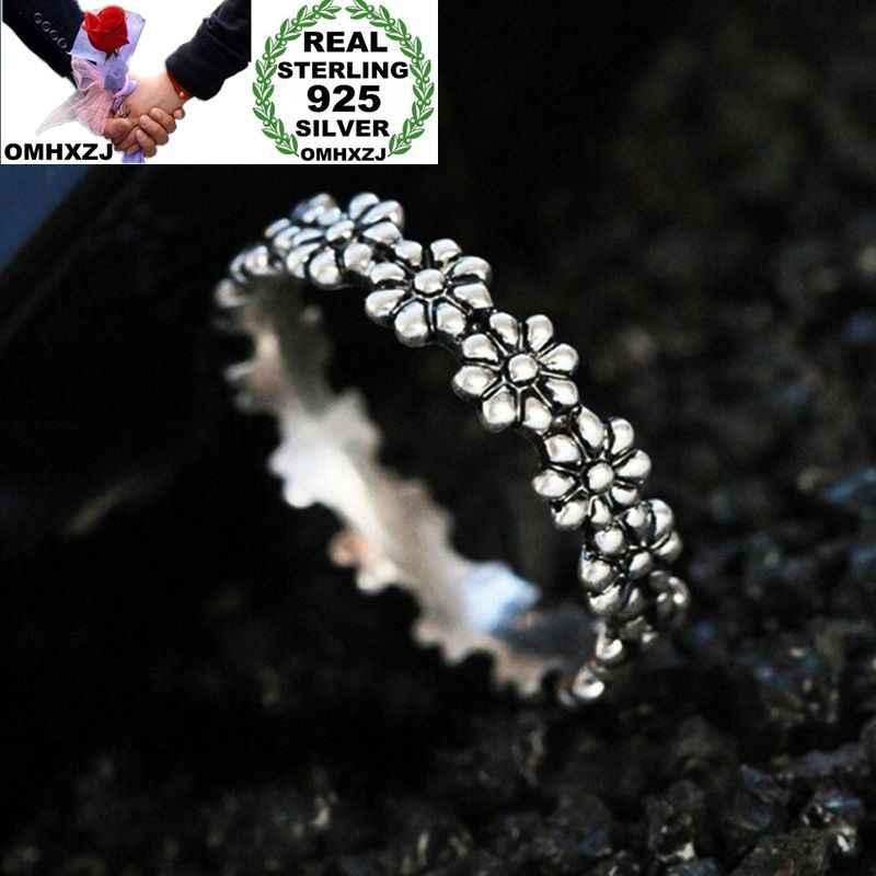 OMHXZJ סיטונאי אירופאי אופנה אישה ילדה מסיבת חתונה מתנת כסף שחור פרח Taiyin טבעת RR341