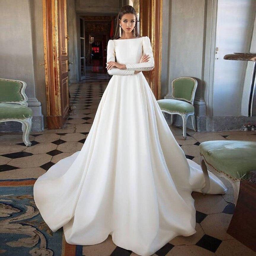 Discount 2018 Elegant White A Line Wedding Dresses Off: Elegant Off White Long Prom Gowns 2018 Slash Neck Long