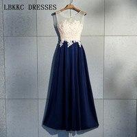 Темно синие выходные платья без рукавов vestido de festa атласные цветы Гала Jurken чай Длина платье для выпускного вечера для женщин вечернее элеган