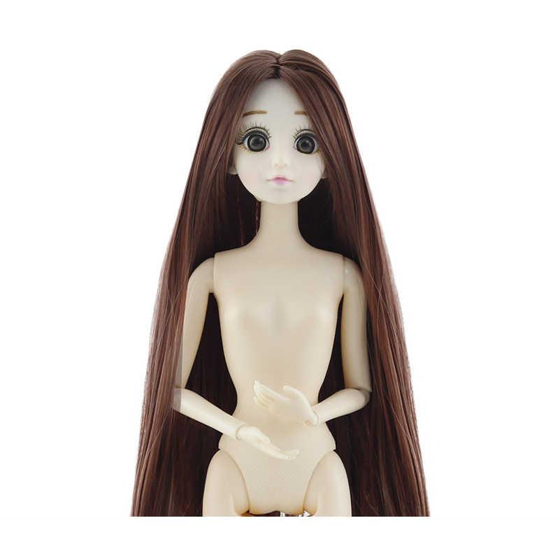 Mới 30 Cm 20 Di Động Khớp Búp Bê Đồ Chơi Dễ Thương 3D Lớn Mắt Xanh Nữ Naked Nude Đầu Búp Bê Body Thời Trang tóc Đồ Chơi Búp Bê Cho Bé Gái