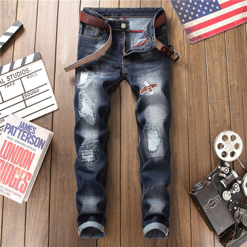 2019 Spring New Jeans Men's Slim Stretch Hole Patch Bee Embroidery Blue Men's Pants More Size 28-34 36 38
