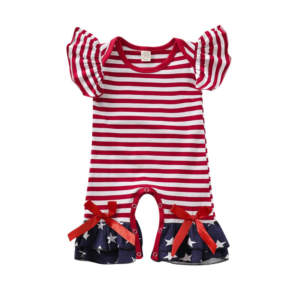 Newborn Baby Girls Star Print 4th Of July Romper Overall Striped Straps Clothes