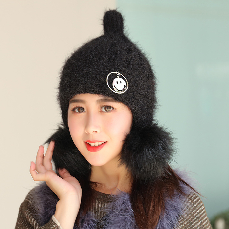 cb8f3a88770 Cute Winter Hat With Smiley Face Pendant For Women Girls Thickening Knit  Beanie Earmuff Warm Hat Outdoor Pom Poms Beanie Cap