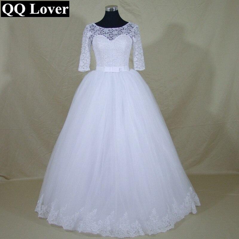 QQ Lover 2019 New Half Sleeves Pearls Beaded Lace Wedding Dresses Custom-made Vestido De Novia