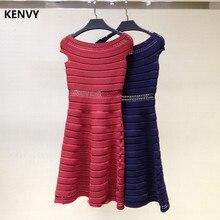 KENVY Brand Women Fashion Luxury Summer Slash Neck Elastic Slim Knitted Short Dress