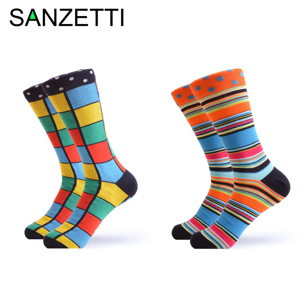 SANZETTI 2 pair/lot Men's Funny Combed Cotton Socks Novelty Colorful Pattern Cas