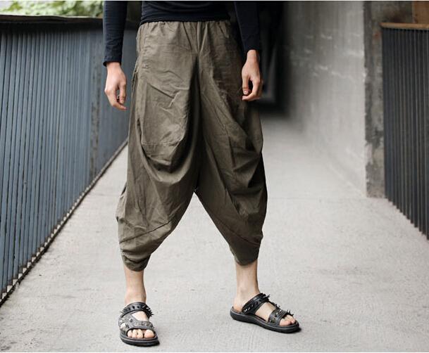 Verão de alta qualidade de corte Dimensional de jovens homens de cânhamo de algodão solto calças dos homens calças dos homens 1 calças largas calças de carga quente