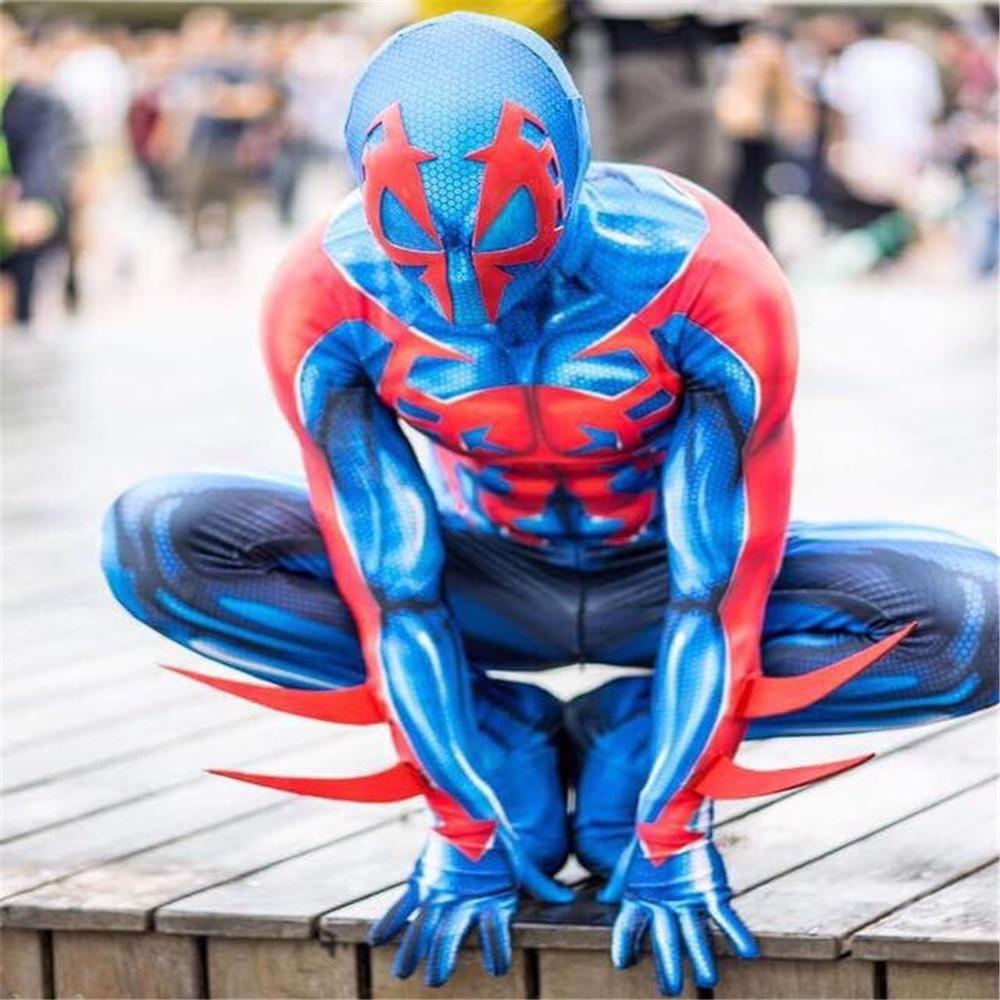 2099 Miguel O'Hara Spider-Man cosplay Super hero Spiderman Costumes Fullbody Zentai Suit Adult man Jumpsuit Long Sleeve Rompers