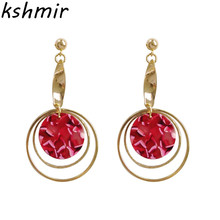 Romantic temperament intellectual rose 2018 fashion earrings Geometry of the circular Earrings party Fashion Jewelry wholesale