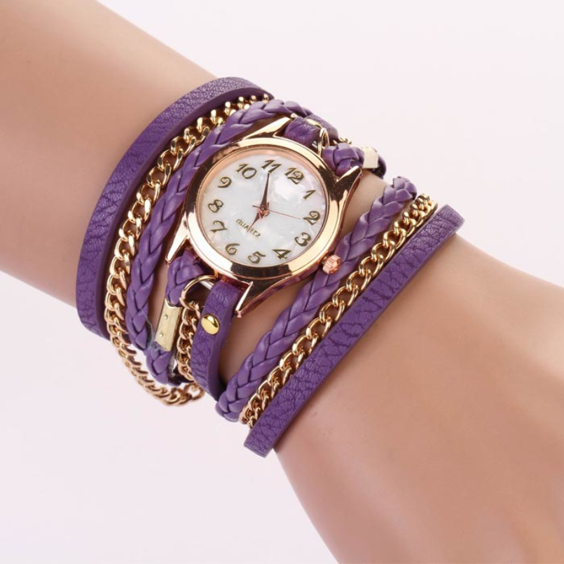 Excellent Quality Women Vintage Quartz Watches Casual Bracelet Leather Strap Braided winding Rivet Clock Relojes Mujer Feminino