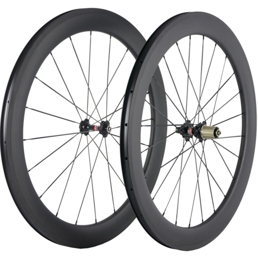 60mm Clincher Carbon Road Bike Wheelset 25mm Wide Cycling Bicycle Carbon Wheel Chinese Full Carbon With Novatec 271 Hub 50mm clincher carbon bike wheel 25mm width bicycle wheel set novatec light weight hub 700c wheel set