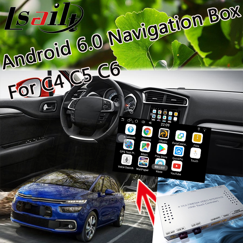 Plug & Play Android 6.0 Navigaiton Interface pour 2014-2018 Citroen C4 C5 C6 SMEG + avec Live Navigation, 3D Carte, WIFI, Yandex