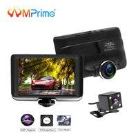AMPrime Dual Lens Car DVR IPS Touch Screen Video Recorder 360 Degree Panoramic Dash Cam Dvrs with Rear View Registrar Cameras