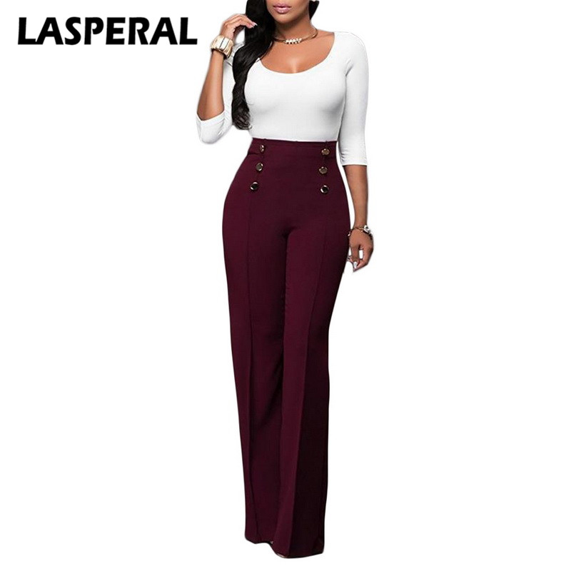 LASPERAL Spring   Wide     Leg     Pants   Women Casual Button High Waist Streetwear Trousers Female Fashion Solid Office Lady Loose   Pants