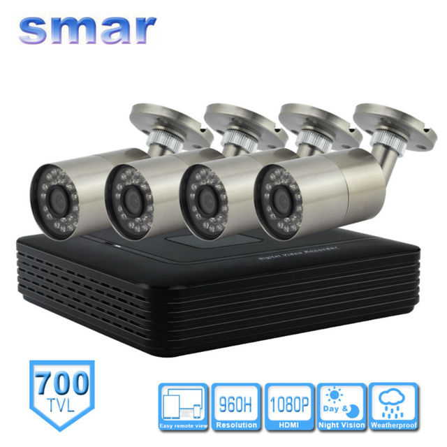 Smar CCTV H. 264 4CH FULL 960H DVR Video Surveillance System With 4PCS 700TVL Outdoor Security Bullet Camera Kit  Low-cost Sales