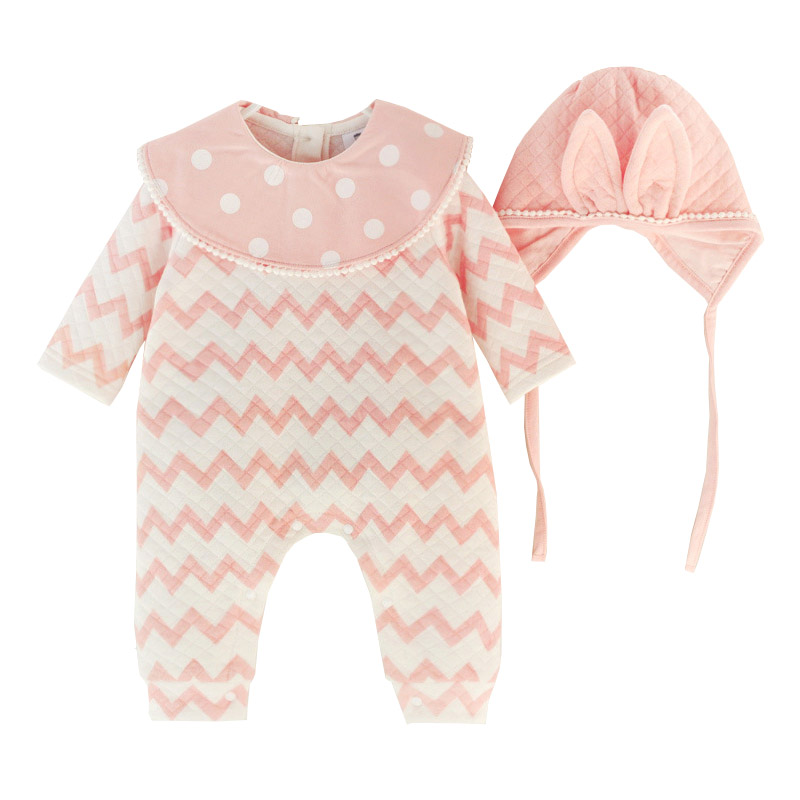 Newborn Baby Girls Clothing Set Thick Air Cotton Romper+Hat 2pcs Striped Jumpuit Cute Rabbit Style Infant Clothes Birthday Gifts