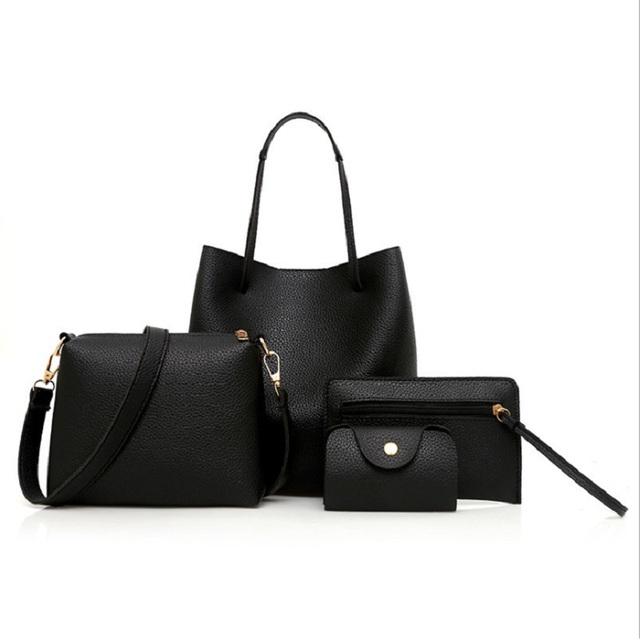 2018 New Women Bags Set 4 Pcs Leather Handbag Women Large Tote Bags Ladies Shoulder Bag Handbag+Messenger Bag+Purse+ card case