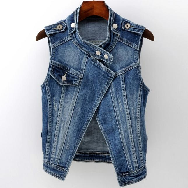 Plus Size 4XLCotton Women's Denim Vest  Casual Short Slim Waistcoats Jeans Sleeveless Tank Tops