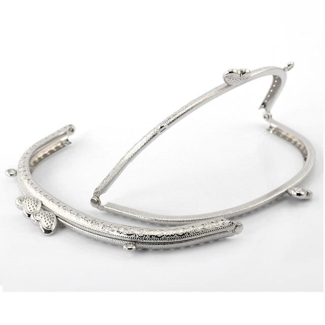 10pcs Silver Tone Double Hearts Metal Kiss Clasp Lock Arch Frame For Handbag Purse Bag Handle