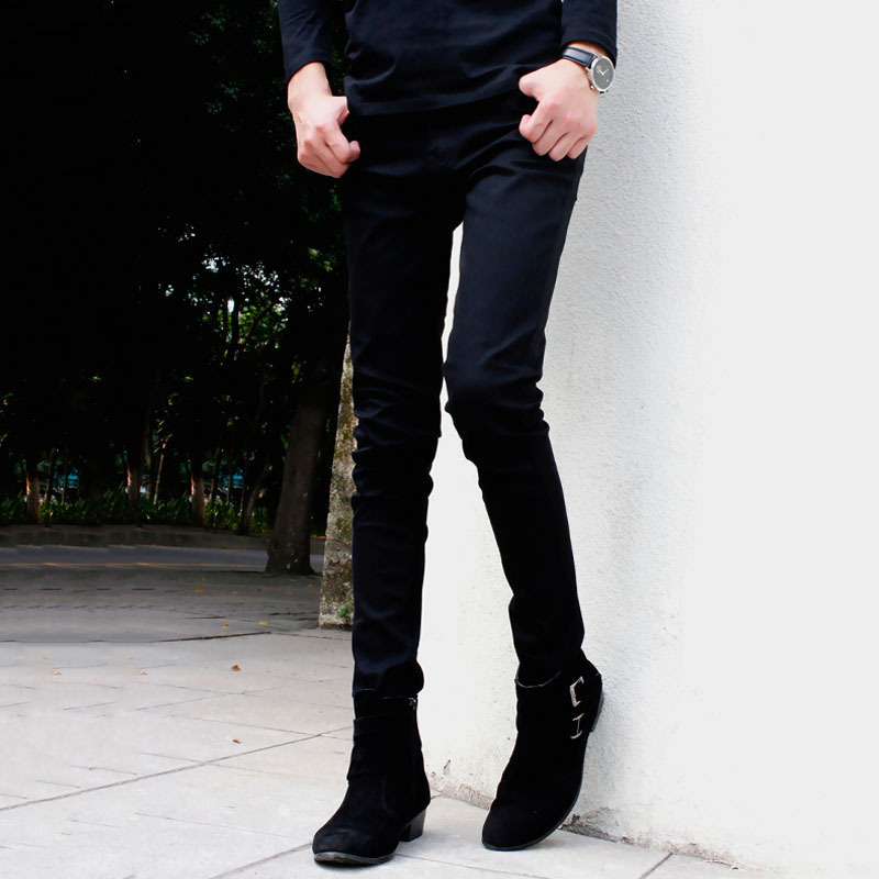 skinny jeans punk cool ligh wash super skinny chain pants for male. Black Bedroom Furniture Sets. Home Design Ideas