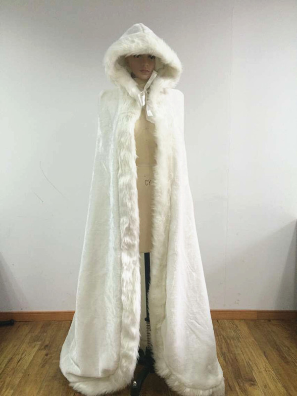 Thick hooded bridal cape white fur coat wedding shawl plus for Wedding dress jackets plus size