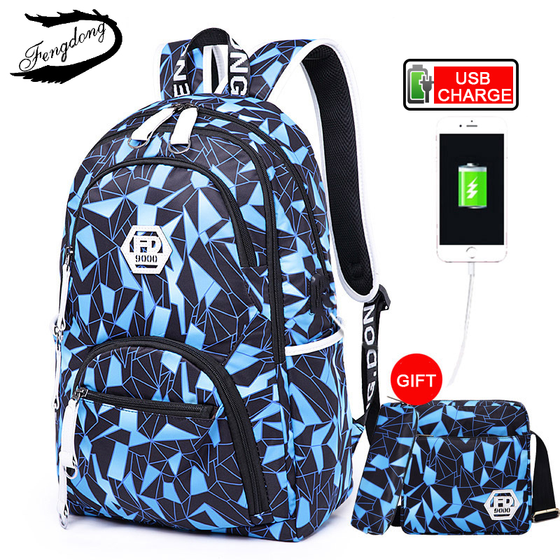 Fengdong Students Backpack Male USB Waterproof Breathable Shoulder Bag College School Bags For 1-6 Class Teenage Boys mochilas