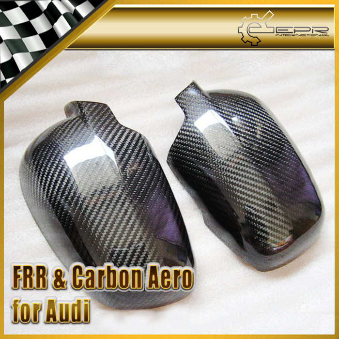 EPR Car Styling For Audi 02-05 A4 B6 Carbon Fiber Mirror Cover (Stick On Type) Glossy Fibre Finish Exterior Accessories Racing