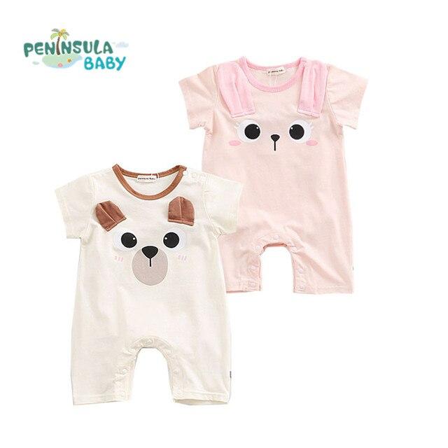 526ff0a85 Baby Romper Summer Short Sleeve Cotton Cartoon Animal Jumpsuit ...