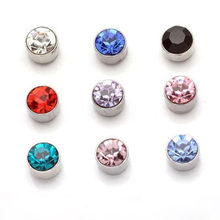 Unisex Non Piercing Clip on Strong Magnetic Magnet Crystal Cubic Zircon Ear Stud Earrings Gift for Boyfriend Lover Jewelry WD314(China)
