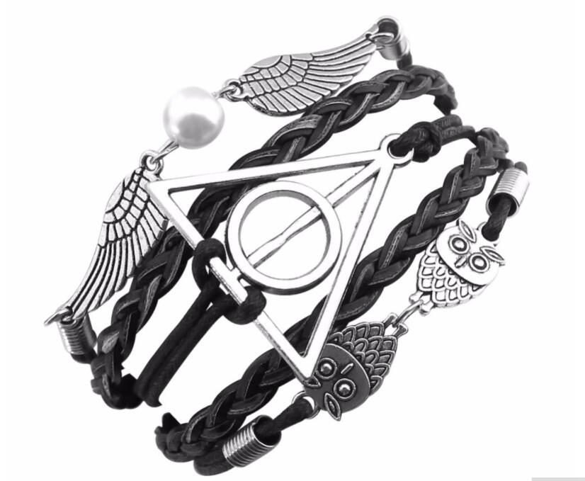 2018 New Vintage leather rope owl Deathly Hallows