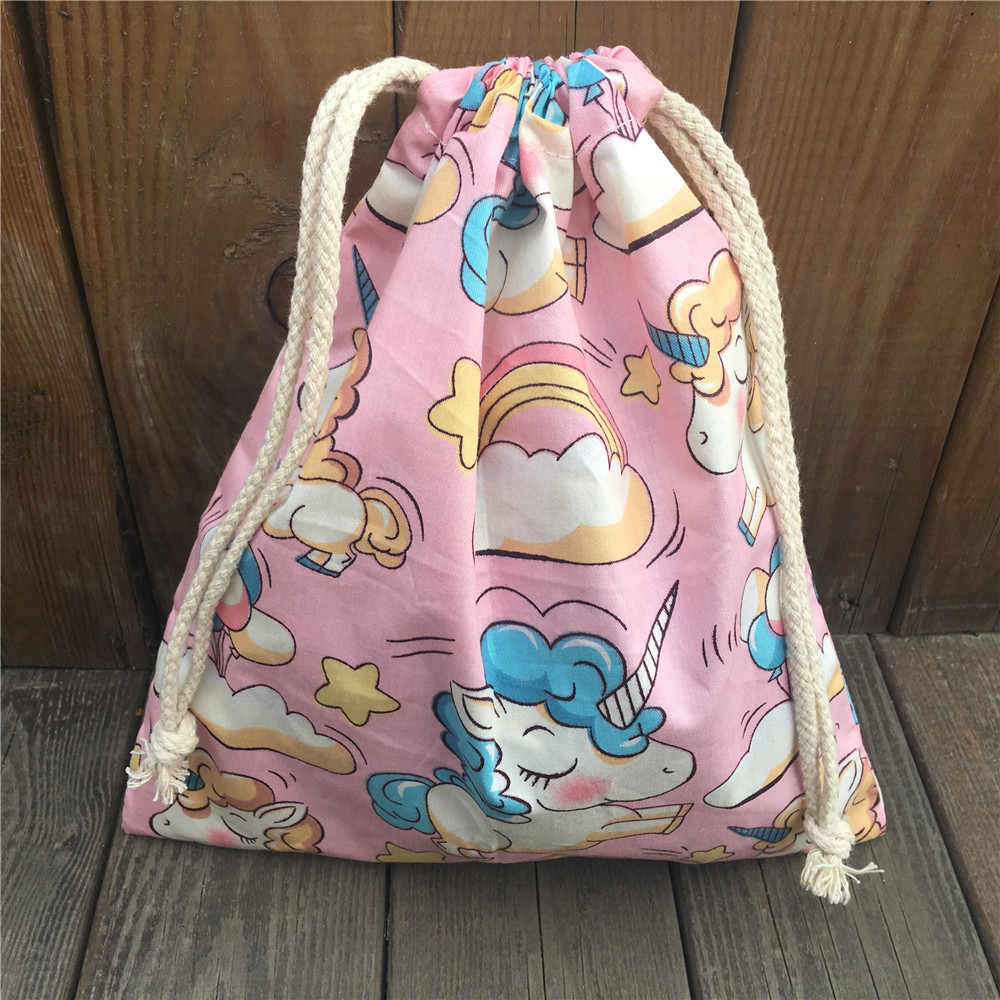YILE 1pc Cotton Drawstring Clothing Sorted Pouch Party Gift Bag Printed Unicorn Rinbow Clouds Pink Base N9208