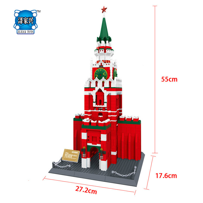 1048pcs The Spasskaya Tower of Moscow KREMLIN Model Building Blocks Children Lepins Education Toy Baby Gifts eighteen disciples of the buddha children puzzle toy building blocks