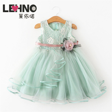 Brands LEHNO Explosion Models Cotton Lined Childrens Skirt Lace Princess Dress Soft Yarn Flower