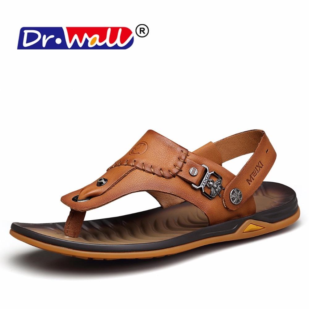 Soft Bottom Summer Beach Shoes Genuine Leather Men Sandals New 2017 Male Sandalias Men Light Solid Casual Sandal