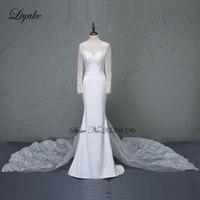 Liyuke Lustrous Cetim O-pescoço Frisado Apliques Vestido de Noiva Destacável Train Completa Mangas Bainha Do Vestido de Casamento Vestido De Noiva
