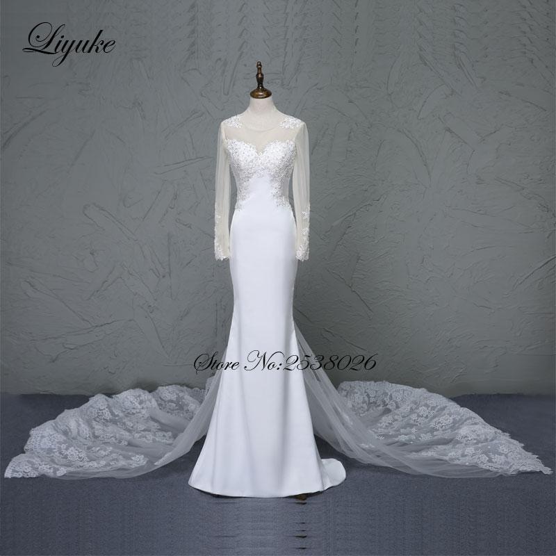 Liyuke Lustrous 새틴 O - 넥 페르시 어플 라이츠 신부 드레스 분리형 기차 전체 슬리브 주름 장식 웨딩 드레스 Vestido De Noiva