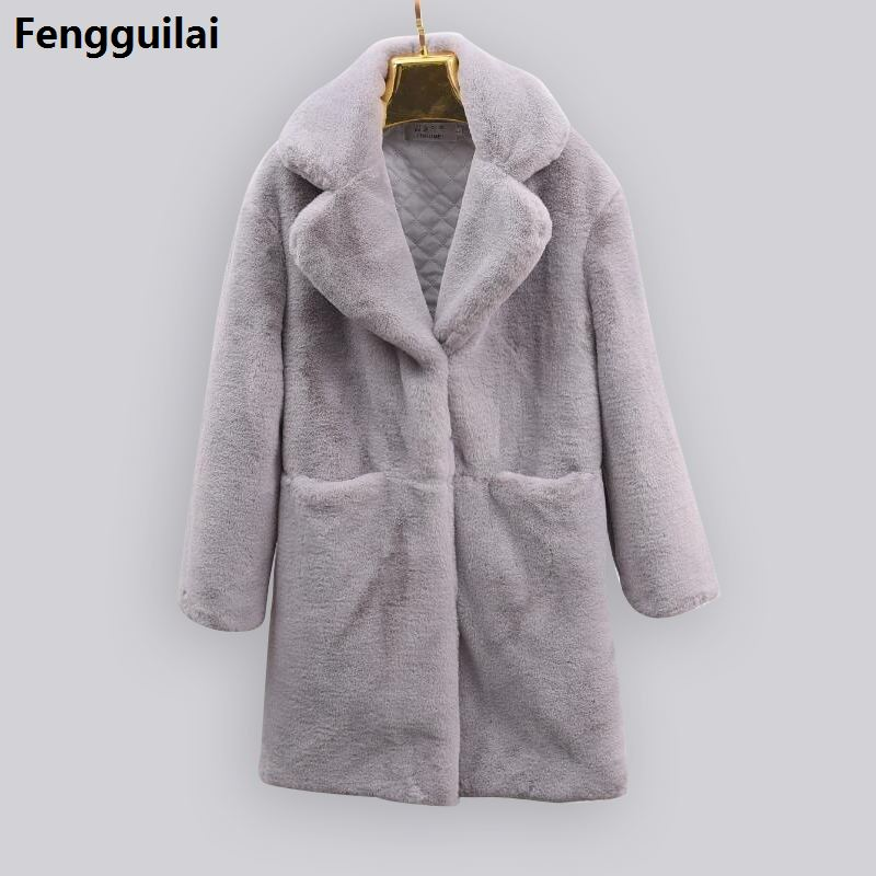 2018 Women Winter Faux Fur Coat Thicken Warm Female Artificial Coats And Jackets Solid Color Of coat