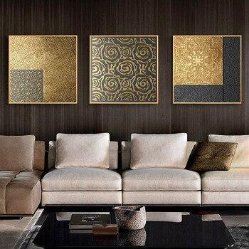 Abstrakte Gold Geometrie Nordic Leinwand Malerei Bild Home Decor Wand Kunst  Poster Retro Drucken Wohnzimmer Vintage Luxus Bild