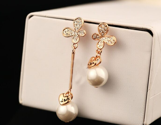 Butterfly pearl asymmetry long earrings korean luxury brand jewelry  wholesale brincos femininos boucle a63ae4f259ad