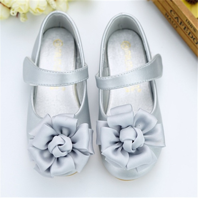 Spring 2018 Baby Toddler Girl Princess Flats Little Kid PU Leather Silk Flower Mary Jane Children Pink Fashion Party Dress Shoes